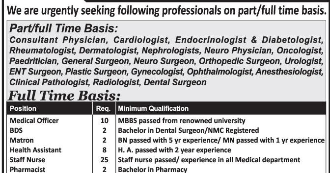 Urgently seeking part/full time medical staffs ...