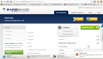 rapidshare Premium Account 18 september 2012