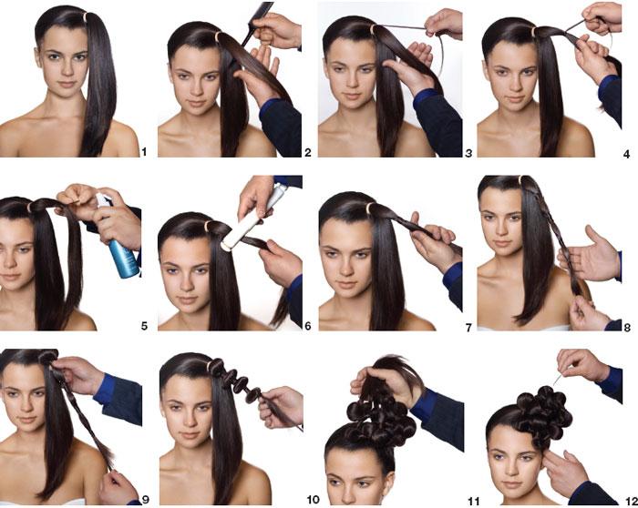 rena el pelo en una cola de caballo justo al frente donde realizars el peinado