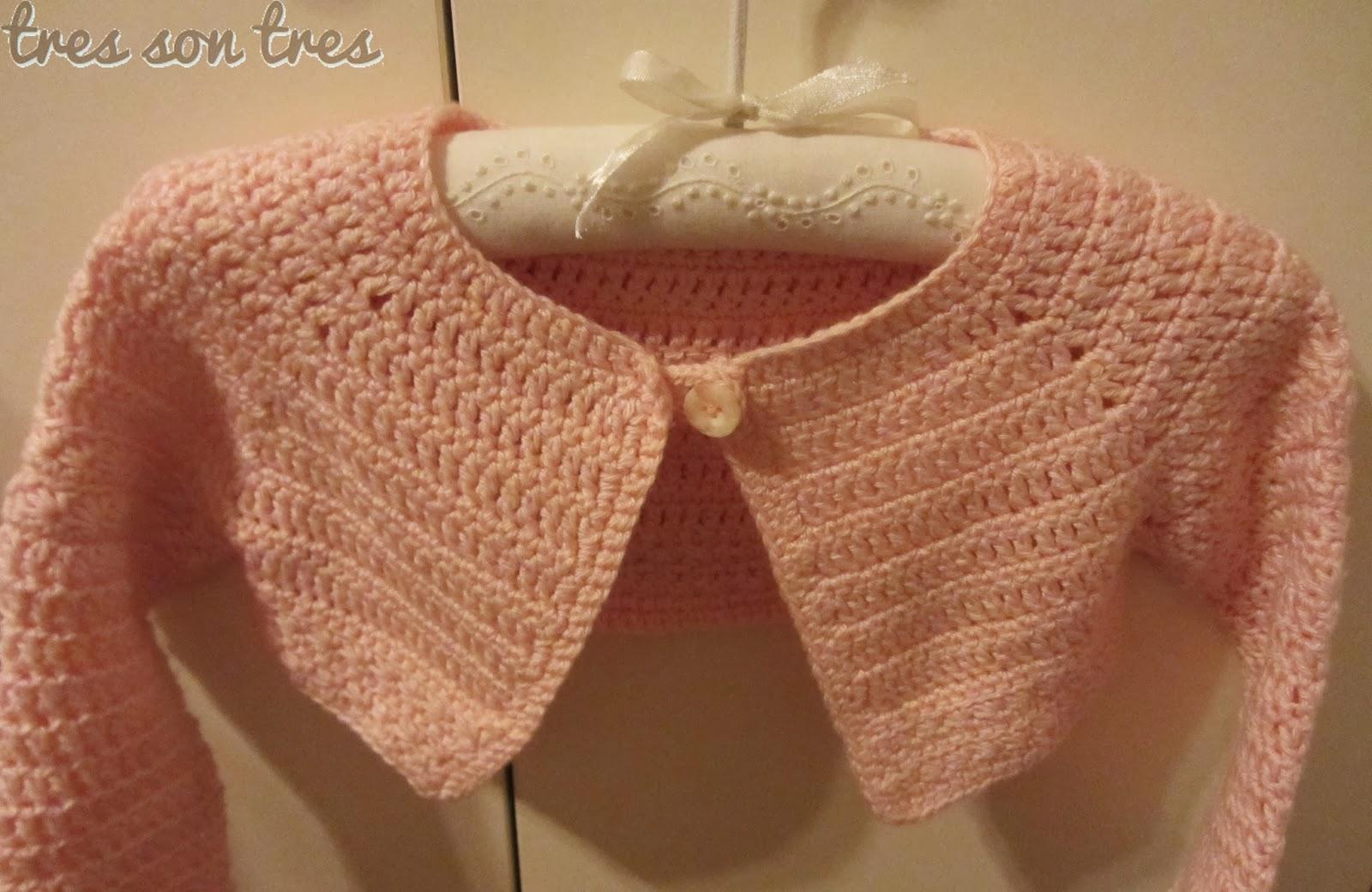 tres son tres, crochet y más...: chaqueta rosa