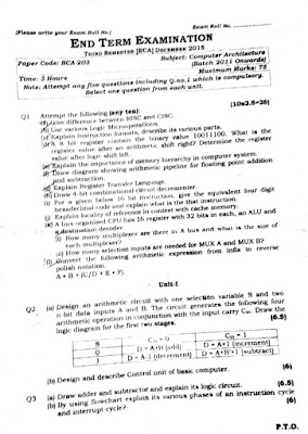 BCA 3rd Semester: Computer Architecture - Question Paper - 2015