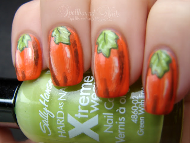 nails nailart nail art polish mani manicure Spellbound Nail-Aween Challenge pumpkins orange green leaves Sally Hansen L.A. Colors