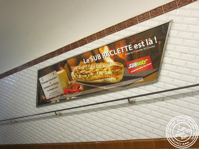 Image of advertisement for Subway in the Metro in Paris, France