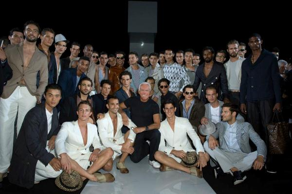 Giorgio Armani with the modelson Armani Facebook page