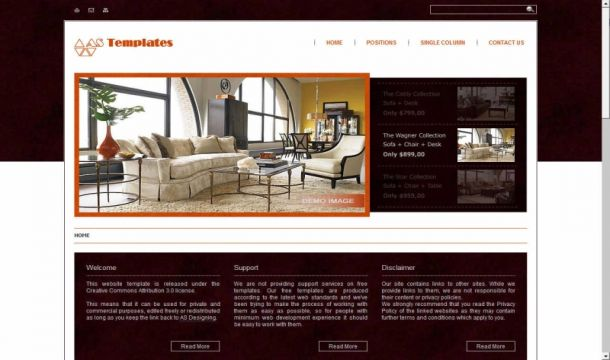 Interior Design Brown Joomla 1.6 Template