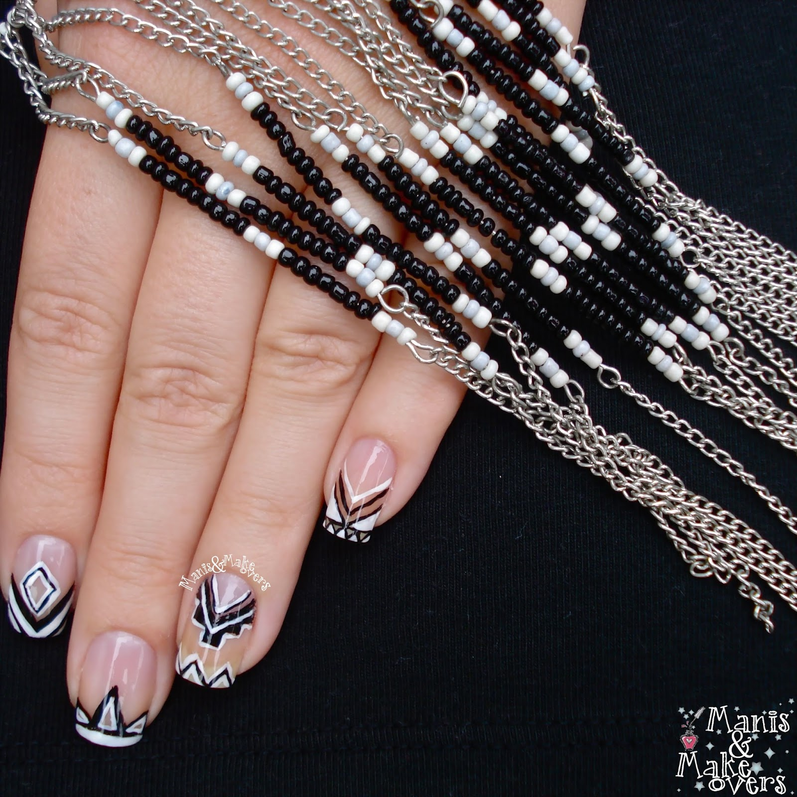 Southern Sparkle Nail Art Twinsie Thursday Negative Space Tribal