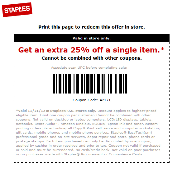 25 coupon staples