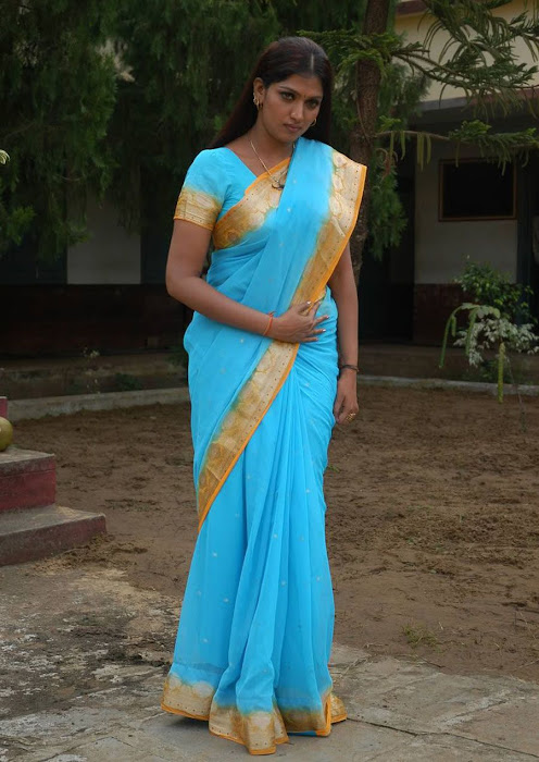 bhuvaneswari in blue saree actress pics