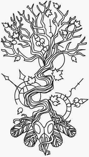 Tree with bird skull biomechanical (steampunk) tattoo stencil