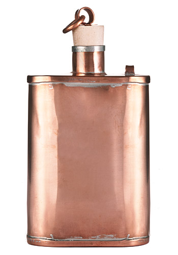 Handmade Copper Flask ( Handmade Copper Flask price $150 ) Normally whiskey flasks are designed to be stashed in a pocket or in your boot for stealth boozing.