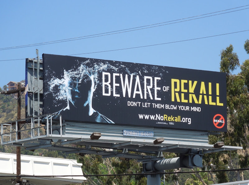 Beware of Rekall Total Recall teaser billboard