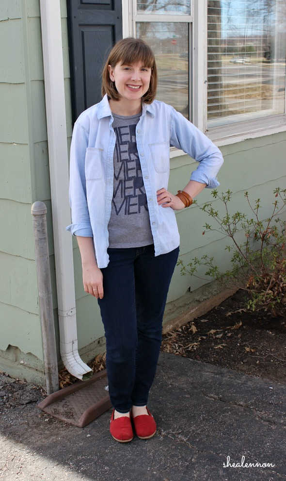 double denim graphic tee outfit
