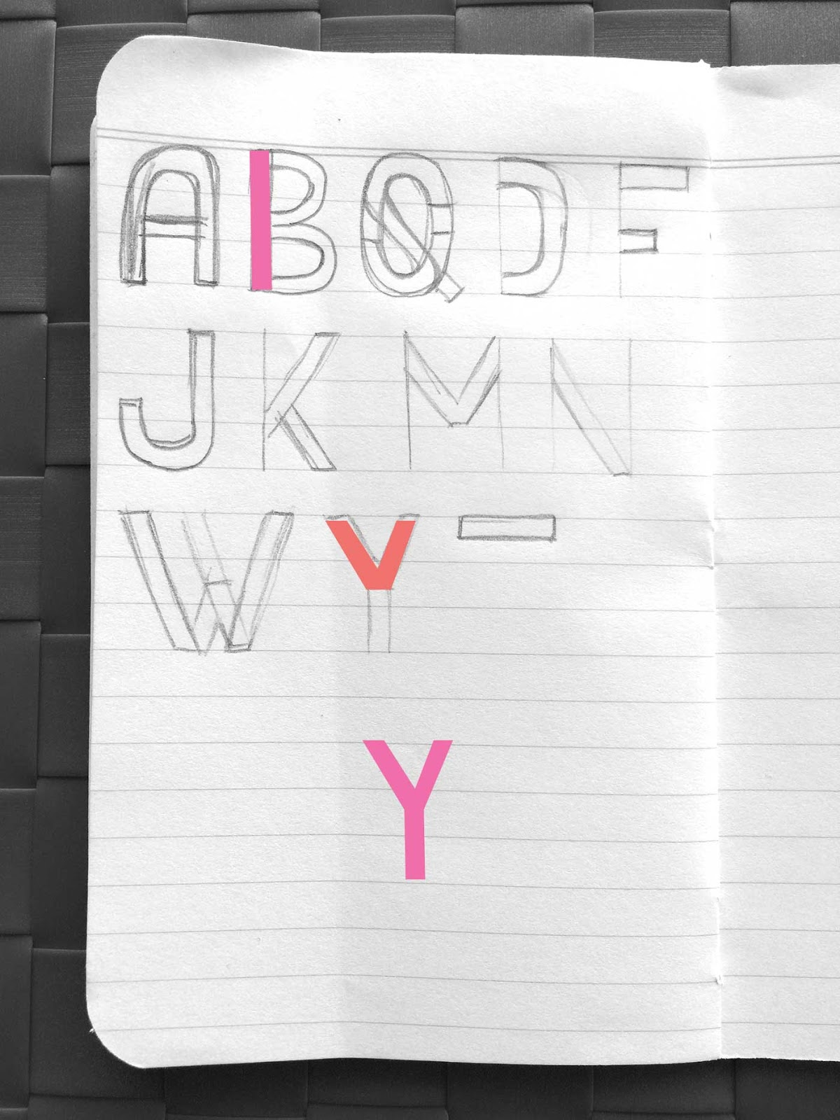 Drawing letter Y - Create a font with minimal sketching