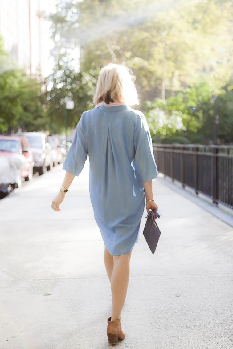 COS chambray shirtdress, oversized, Omega Seamaster, golden hour
