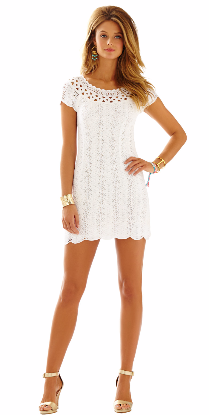LILLY PULITZER EVERLY SHORT SLEEVE SWEATER DRESS RESORT WHITE