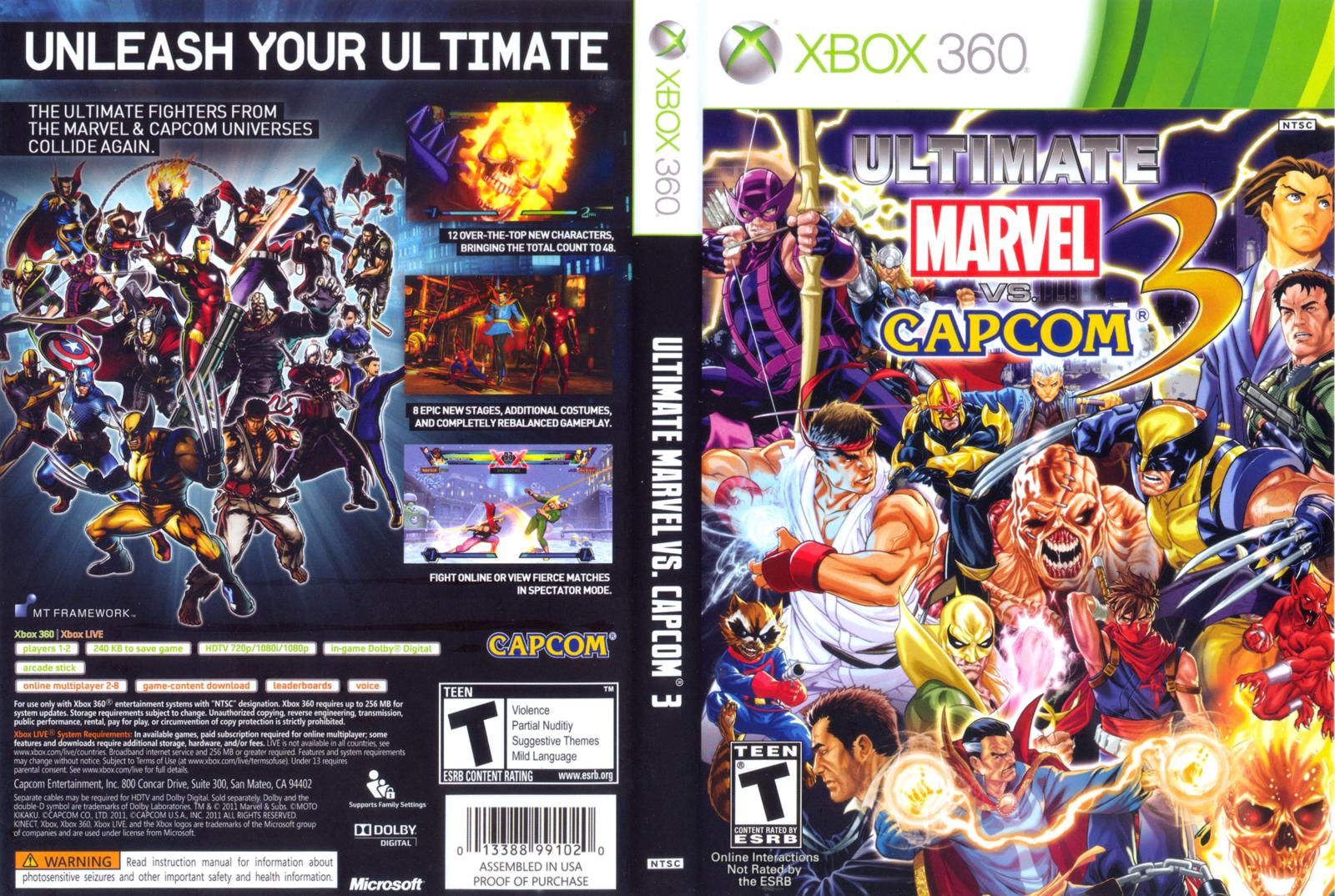Capa ultimate marvel vs capcom 3 xbox 360