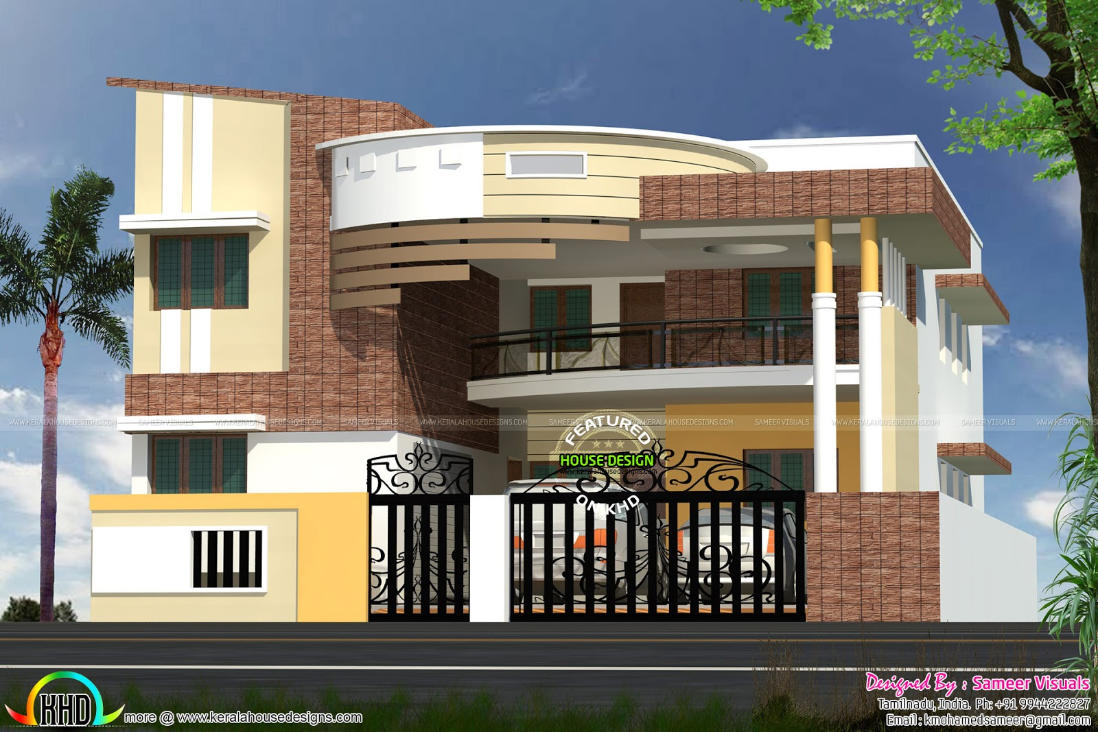 Modern contemporary south indian home design kerala home for Home models in tamilnadu pictures