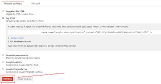 Verifikasi Google webmaster tools