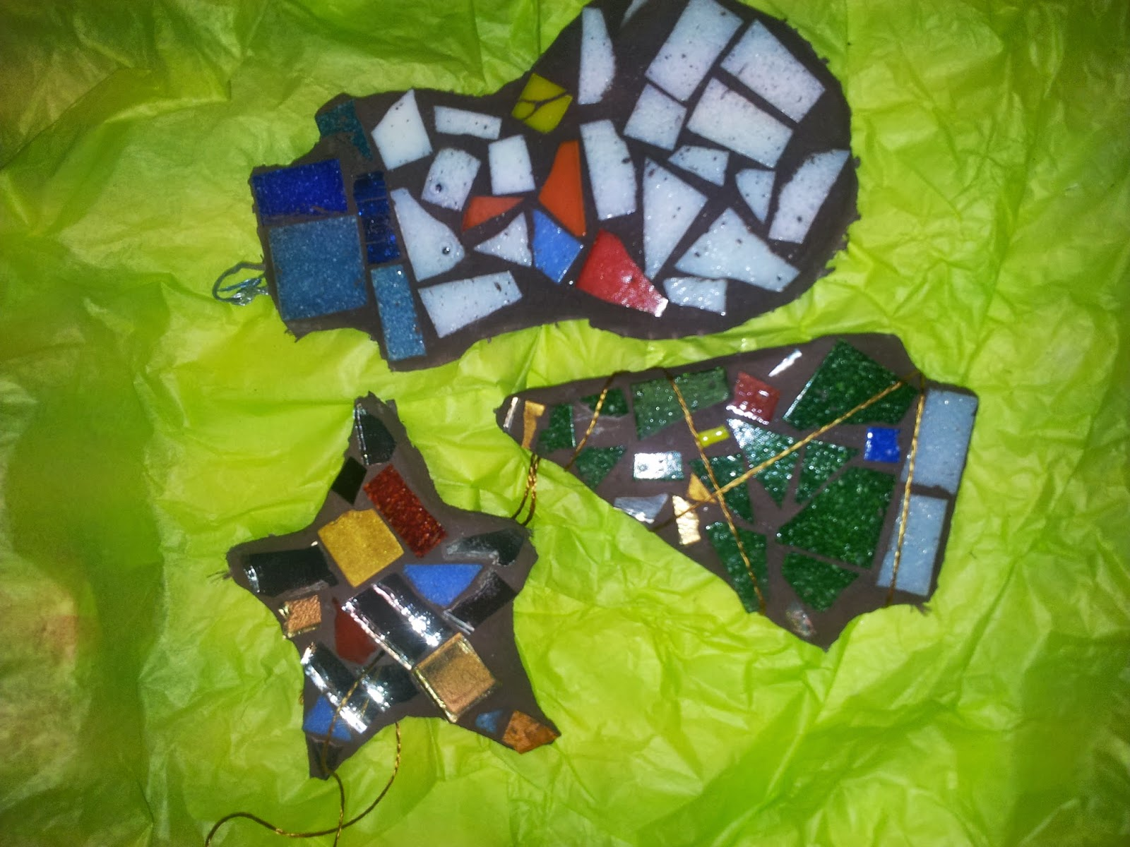 mosaic christmas decorations, mosaic workshop