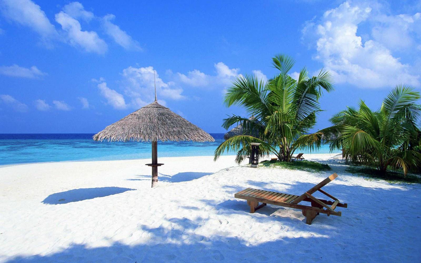 Vista de las playas blancas en México