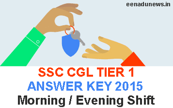 SSC CGL Tier 1 Answer Key 2015 Part A, B, C, D. Staff Selection Commission CGL Exam Key 9th August 2015, SSC CGL Tier 1 Solution Paper Morning Shift, Evening Shift. SSC CGL Exam Question Paper Download at ssc.nic.in. SSC CGL Tier 1 Solved Key 2015, SSC CGL Tier 1 Answer Key 2015 August