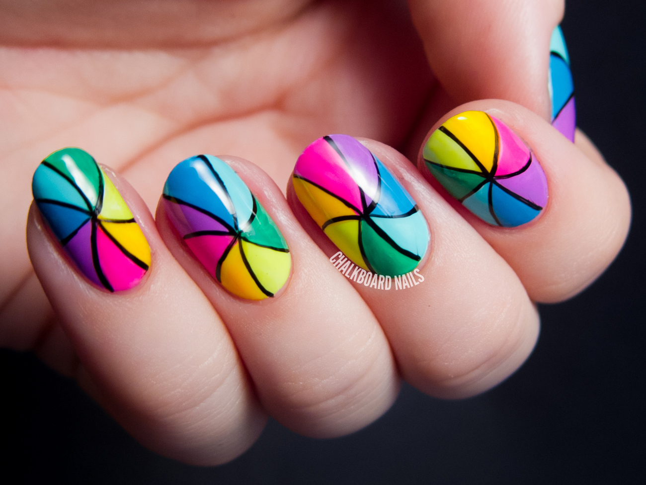 Rainbow Pinwheel Nail Art | Chalkboard Nails | Nail Art Blog