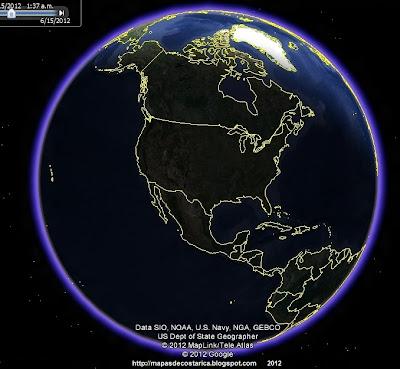 Norteamerica en el mundo, vista del google earth (foto nocturna)