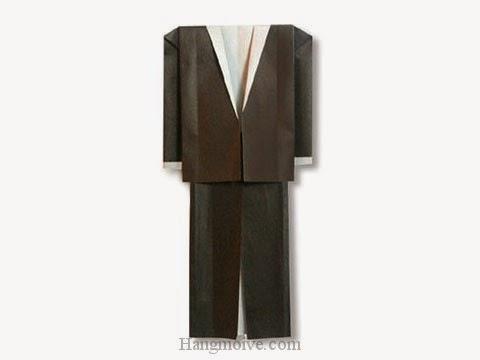 Cách gấp, xếp bộ quần áo comple bằng giấy origami - Video hướng dẫn xếp hình quần áo - How to fold a tuxedo