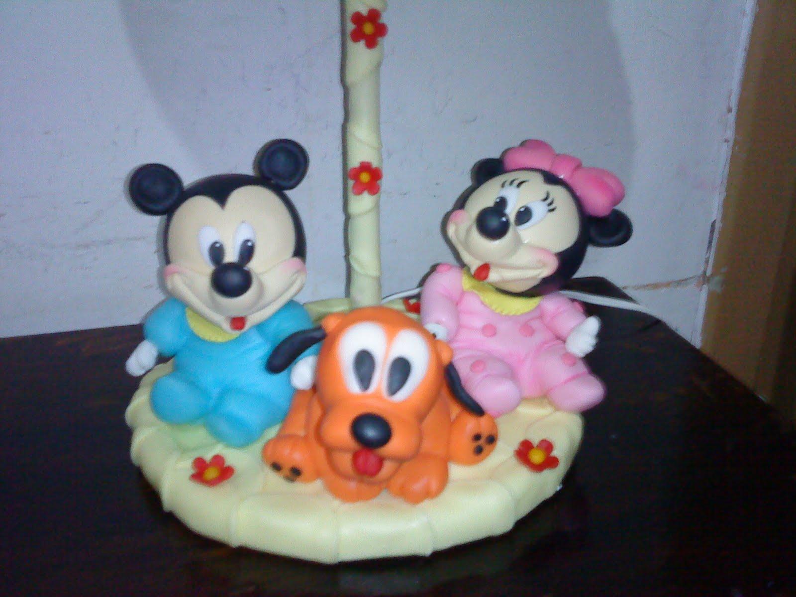 ... Mickey mouse, miny y pluto, porcelana fria: velador infantil bebé