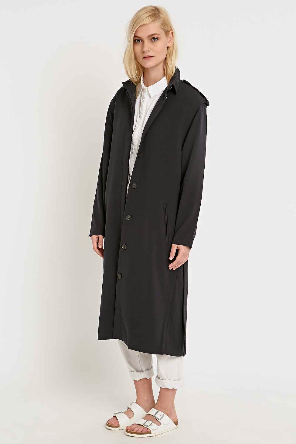 urban outfitters long black coat, selected femme black coat