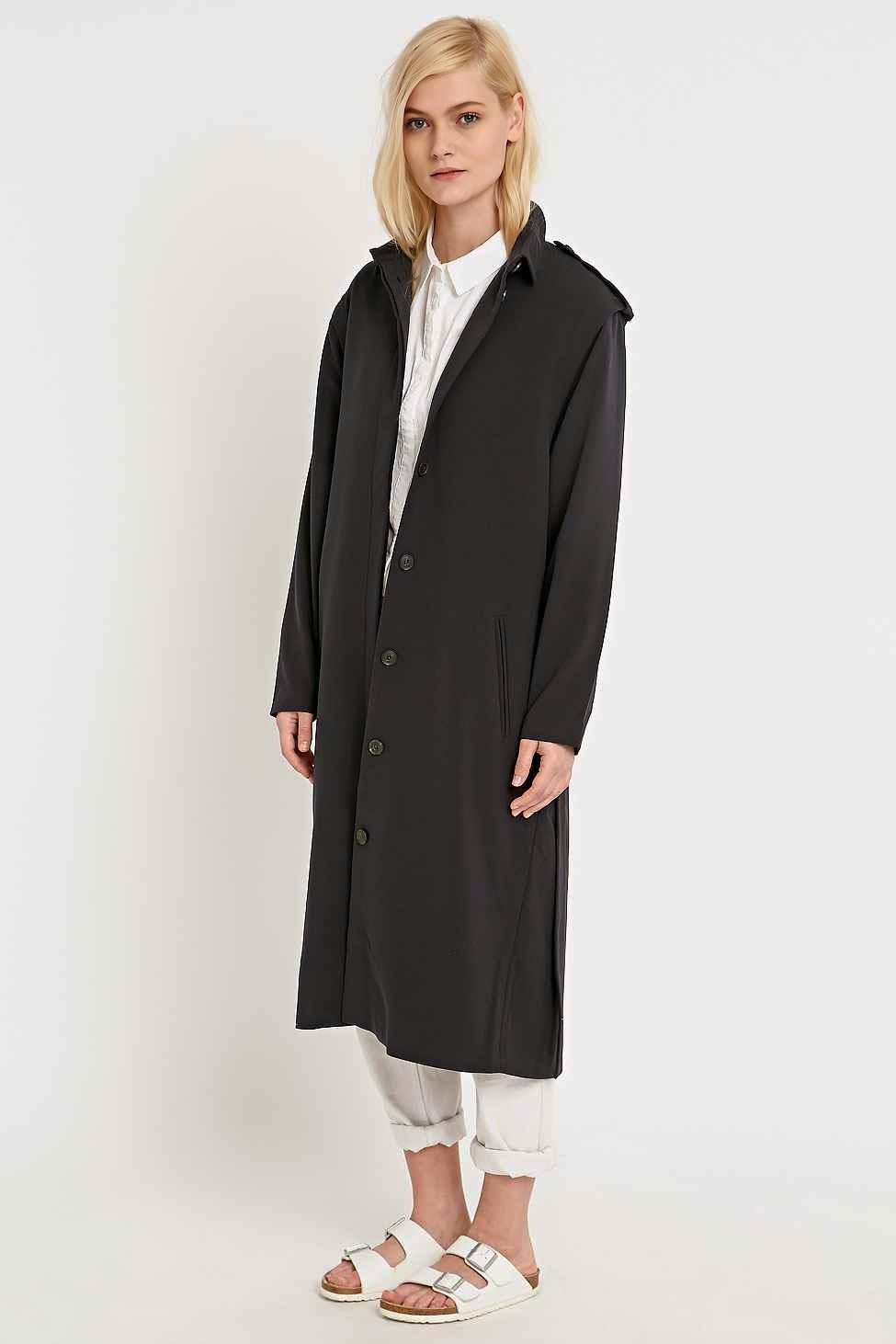 urban outfitters long black coat, selected femme black coat