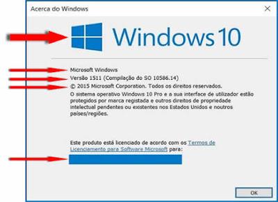 Janela com a informação Acerca do Windows