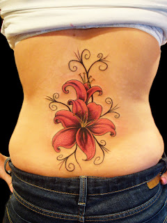 Flower Stars Girl Stomach Tattoos Pattern 2011