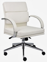 Boss B9406 White Leather Office Chair