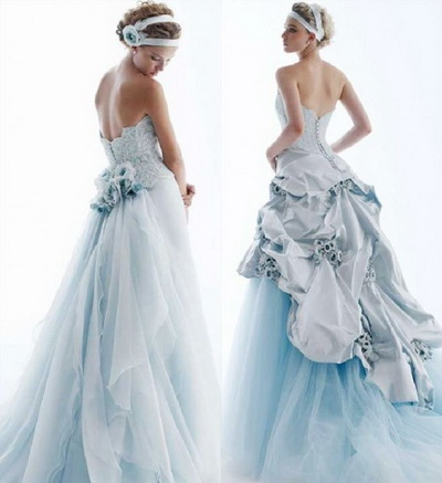 Big Blue Wedding Dresses Design With Ribbon and Pearl Beads ...