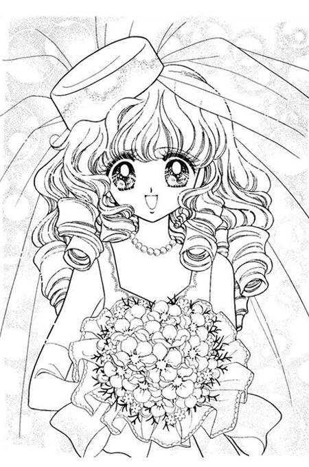 صورة بنت عروس للتلوين تحمل باقة من الزهور