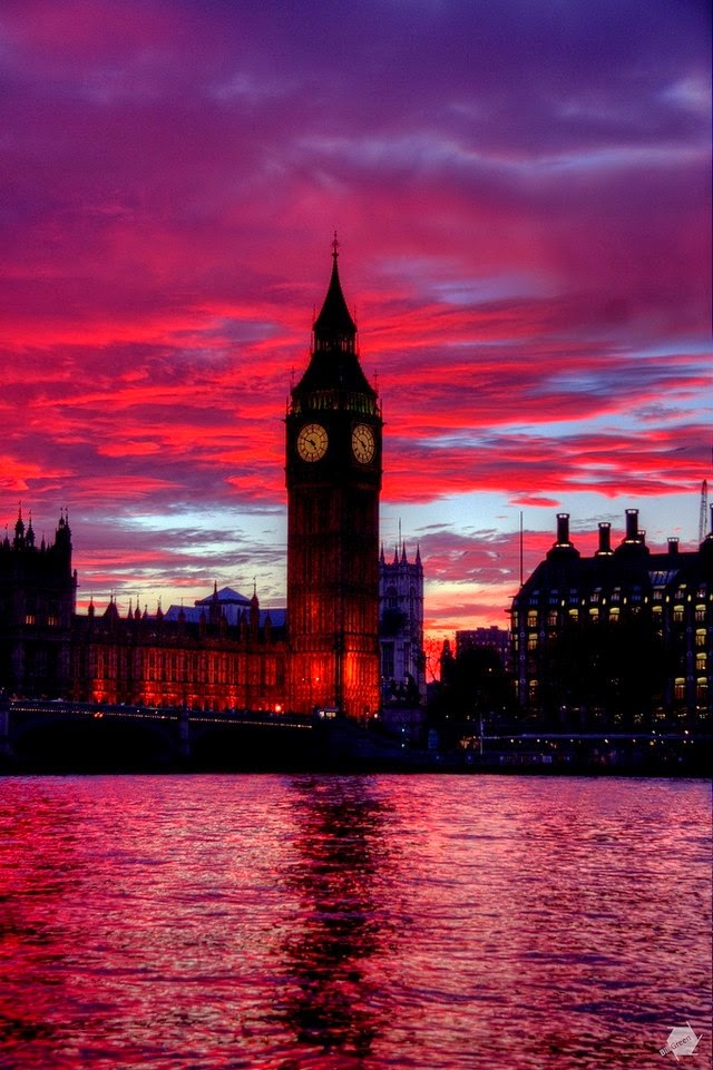 big ben london red sky at sunset