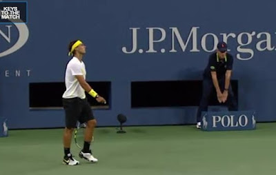 US Open Rafael Nadal shaking head yellow black round one tennis images screencaps photos pictures