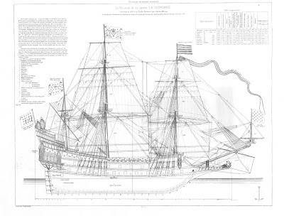 free,ship,plan, 17th Century, French, warship, La Couronne, sailing, vessel, ship of the line