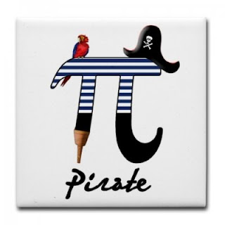 pi with pirate hat, peg leg, and parrot