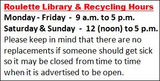 Roulette Library & Recycling Hours