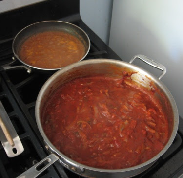 ranchero sauce and refried beans
