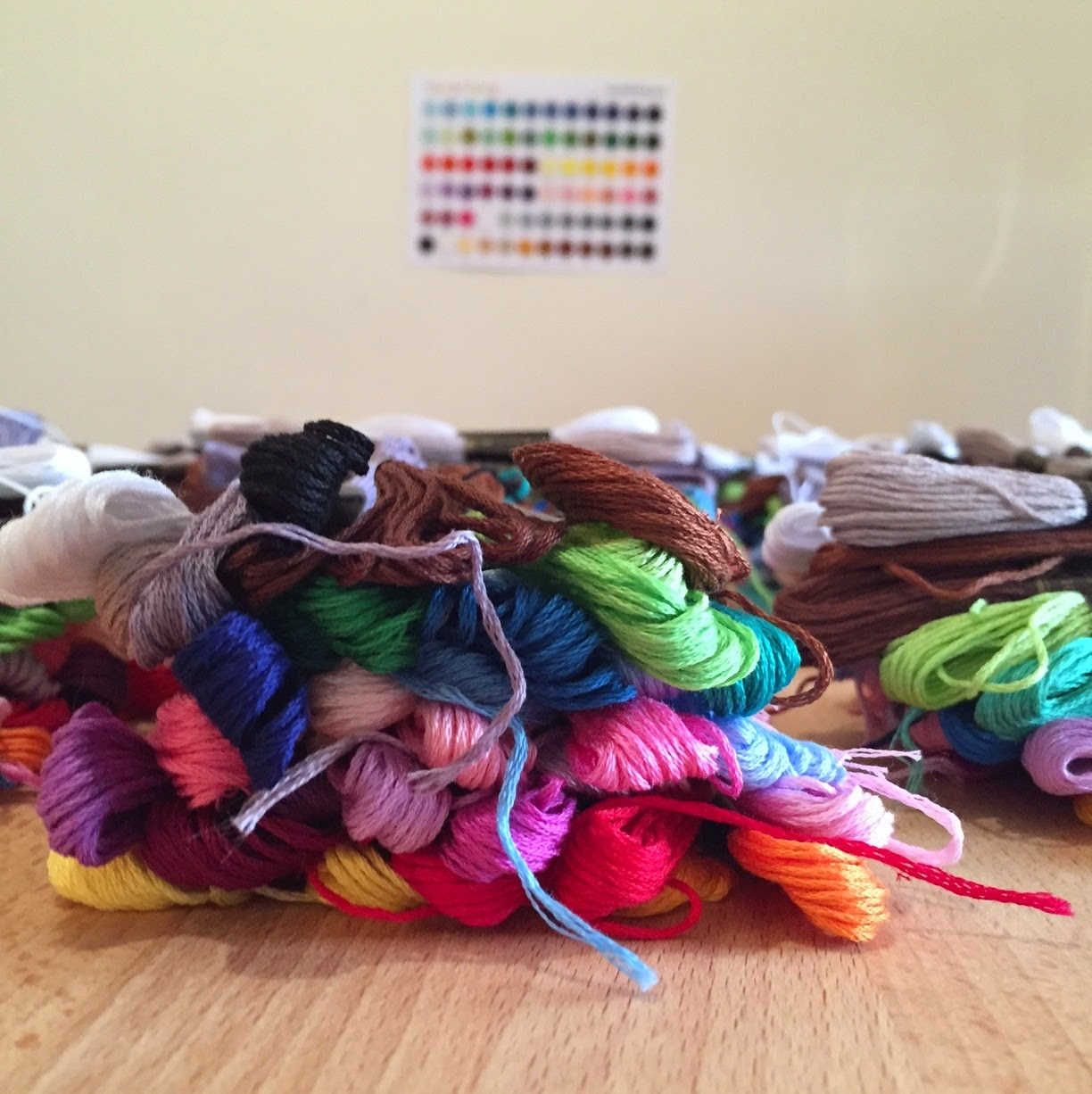 Bright colours embroidery floss
