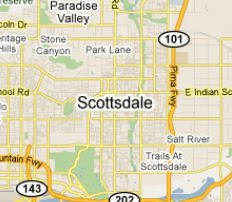 A map of Scottsdale, Arizona