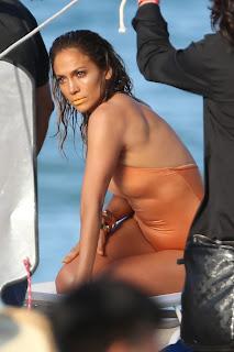 Jennifer Lopez in peach bikini