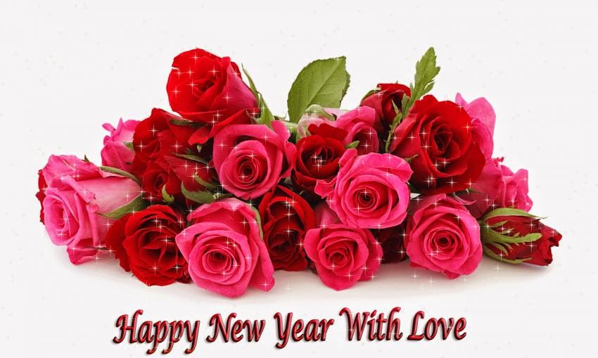 happy new year wishes red rose pictures