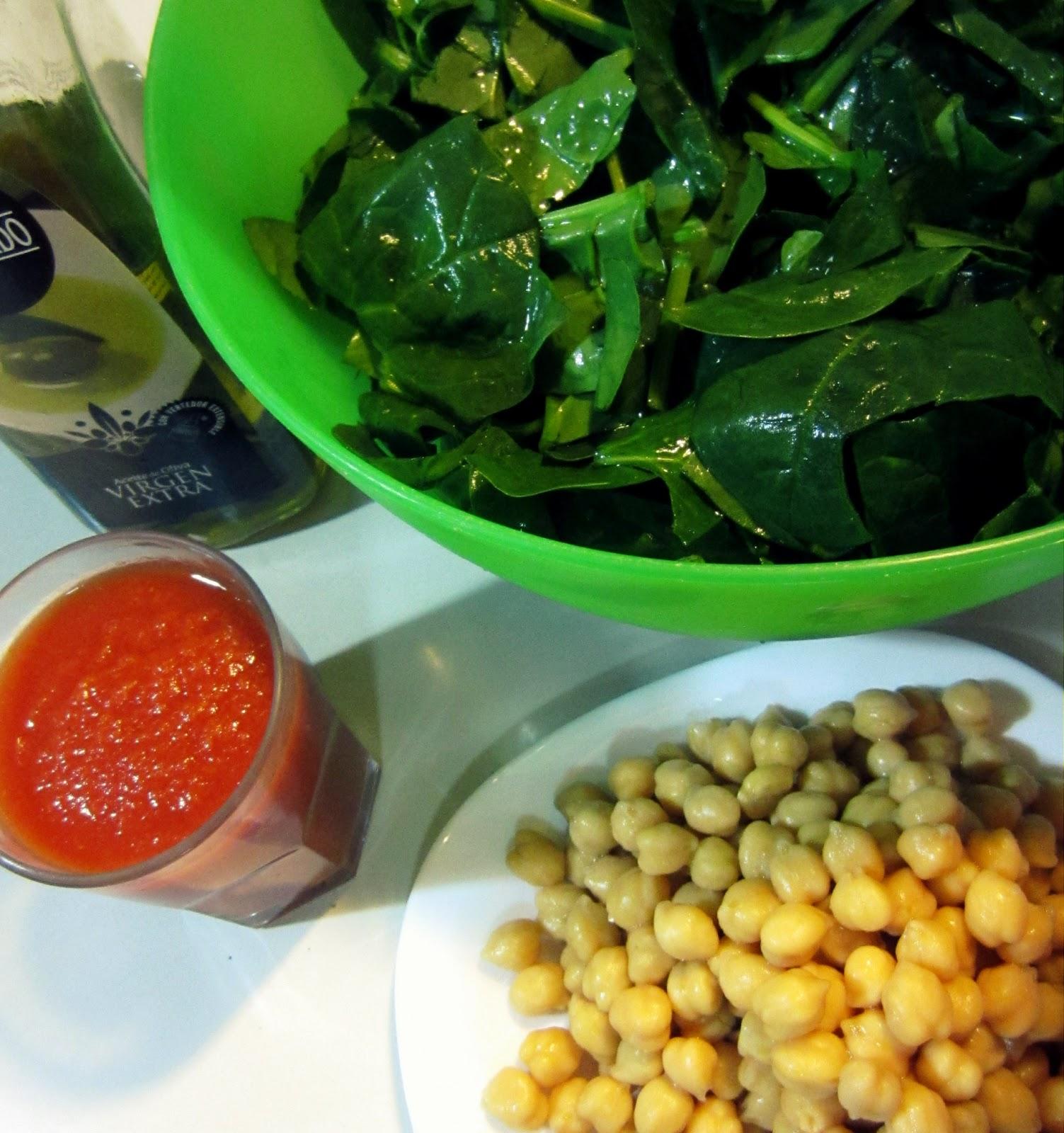 ... Dinner time #4 Espinacas con Garbanzos (Spinach with Garbanzo Beans