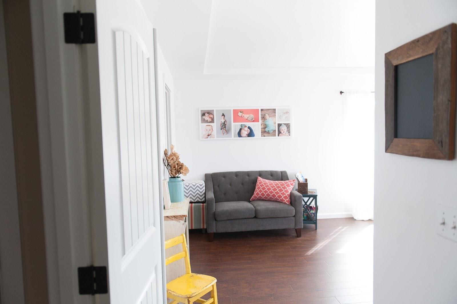 Studio Entry - Gray Love Seat, hardwood floors