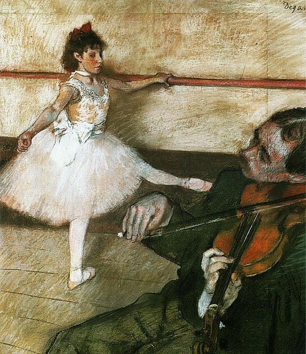 Эдгар Дега. Урок танца. Ок. 1879. Черный мел и пастель.