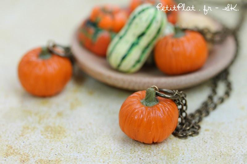 Happy Halloween, Pumpkin Necklace - PetitPlat Miniatures - Stephanie Kilgast